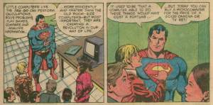 Superman with a TRS-80 microcomputer.